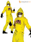 Mens Radioactive Zombie Costume Hazmat Suit Nuclear Halloween Fancy Dress Outfit
