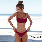 Summer Solid Bikini Set Push-up UnPadded Bra traje de baño Triangle Bather Suit.