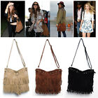 1X Women Tassel Fringe Bag Lady Shoulder Tote Bags Faux Sued