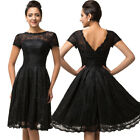 Teen Girls Crew Neck Junior Dress Lace Splicing Short Sleeve