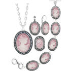 Lady Queen Antique Silver Plated Necklace Earrings Bracelet Vintage Jewelry Set