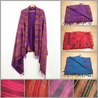 Hand Woven Stripe Blanket Boho Hippie Soft Touch Throw Oversized Shawl Scarf  image