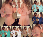 New Womens Long Sleeve Chiffon Evening Cocktail Party Casual Short Mini Dress