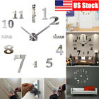 Modern DIY Large Wall Clock 3D Mirror Surface Sticker Home Decor Art Design New