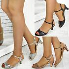 Womens Ladies Low Heel Party Sandals Strappy Wedding Bridesmaid Shoes Size New