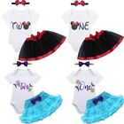 Baby Girls 1st/2nd Birthday Party Dress Romper Tulle Skirt Headband Outfit Sets