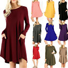 Women's Long Sleeve Tunic T-Shirt Dress with Side Pockets Swing Soft Premium