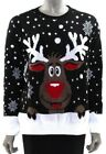"""Christmas Jumper RUDOLPH Reindeer Knit Fabric BLACK Oversized Fit Baggy   42"""""""