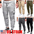 US Men's Slim Fit Urban Straight Leg Trousers Casual Pencil Jogger Cargo Pants
