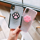 Clear Glossy TPU Case with Cute Cat Paw Phone Holder iPhone 6 7 8 X XR XS MAX