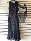 Alex Evenings Women's Navy/Nude Sleeveless Dress/Gown with Shawl