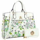 Women Handbag Faux Leather Satchel Bag w Padlock and Matching Wallet