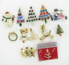 12 pc lot collection Christmas Pins Rhinestone tree Santa snowman reindeer bell