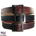 Women&#039;s BUFFALO SOLID LEATHER Casual BELT 1-1/2&quot;_1.5&quot;  Black _Brown _Chocolate <br/> Antique Brass Buckle , Rough Edge , Handcrafted