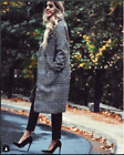 ZARA BLOGGERS GREY LAPEL COLLAR CHECKED DOUBLE BREASTED LONG WOOL BLAZER COAT XS