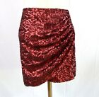 NWT Anthropologie Chelsea & Violet RED wine sequin shirred women's stretch Skirt