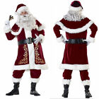 Men Plus Size Deluxe Velour Christmas Santa Claus Costume Party Suit Adult Fancy