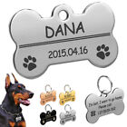Personalized Dog Tags Disk Bone Engraved Pet Puppy ID Name Collar Tag 4 Colors