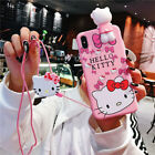 Cute Bow Hello kitty Doll strap Holder case Cover for iPhone X XS Max 8 7 6 Plus
