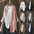Women's Buttons Down Casual Long Sleeve Shirt Blouse Ethnic Vintage Chinese Tops