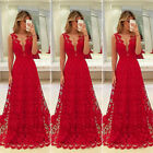 Womens Long Lace Dress Evening Formal Party Prom Wedding Bridesmaid Ball Gown US