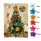 10pcs Artificial Glitter Christmas Flowers Xmas Tree Decorations Wedding Party