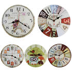US Large Wooden Wall Clock Creative Round Home Decor Watch Modern Design Silent