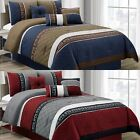 Chezmoi Collection 7-piece Pleated Diamond Quilted Embroidery Comforter Set image