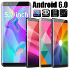 5.7 Inch Android 6.0 Dual Hd Camera Smartphone Wifi Gps 3g Call Mobile Phone Uk