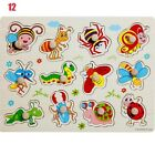 Baby Toy Wooden Puzzle-Hand Grab Board Set Educational Cartoon Animal Puzzl