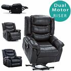 SEATTLE DUAL MOTOR RISER RECLINER BONDED LEATHER ARMCHAIR MOBILITY LIFT CHAIR
