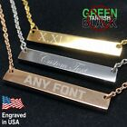 Custom Necklace Engraved Bar Stainless Silver Rose Gold Gift Personalized