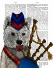 ART-PRINT-IMAGE-Animals-West-Highland-Terrier-and-Bagpipes-Picture-Poster-Fine-a
