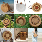 Handmade Beach Bag Round Handwoven Rattan Circle Women Bamboo Straw Satchel Usa