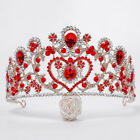8cm High Large Heart Crystal Tiara Crown Wedding Prom Party Pageant 3 Colors