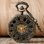 Roman Skeleton Mechanical Men's Pocket Watch Steampunk Vintage Pendant Fob Chain image