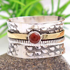 Carnelian Wide Band Spinner 2 tone fidget Ring 925 Sterling Silver Size 5 -14 Us
