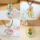 Vintage Natural Real Dried Flower Cat Glass Pendant Necklace Women Jewelry Gift