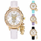 Charming Women Owl Heart Pendant Watch Leather Band Quartz Crystal Wristwatch