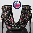eecb579beac US Women Lady Embroidery Floral Ankle Boots Thin High Heels Buckle Shoes  Booties