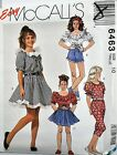 McCalls Sewing Pattern # 6463 Girl's Top, Skirt, Pants, and Shorts Choose Size