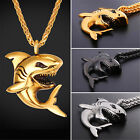 U7 Stainless Steel Ocean Animal Shark Pendant Necklace Cool Punk Men's Jewelry