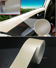 Beige Matte Car Part Interior Leather Grain Texture Film Vinyl Wrap Sticker - Ab