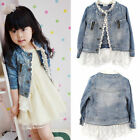 2 7T Kids Girls Jean Coat Jacket Outwear Denim Top Button Lace Button Oute