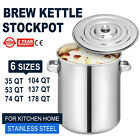 6 Sizes Steel Stock Pot Brewing Beer Kettle Polished With Lid Quart  Covered