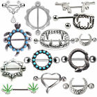 Nipple Rings Shield Bar Barbell 316L Surgical Steel Piercing Various Styles