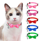 Kitten Breakaway Cat Collars Cute Bowtie with Safety Quick Release Bell Pink Red