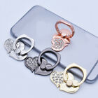 360° Metal Crystal Double Love Cell Phone Holder Round Stand Finger Ring Bracket