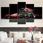 Framed Ferrari Anatomy Sport Car engineering 5 Piece Canvas Print Wall Art Decor