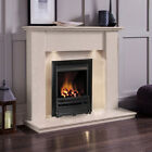 GAS CREAM MARBLE STONE MODERN WALL SURROUND & LIGHTS BLACK FIRE FIREPLACE SUITE
